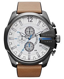 Men's Chronograph Tan Leather Strap Watch 51mm DZ4280