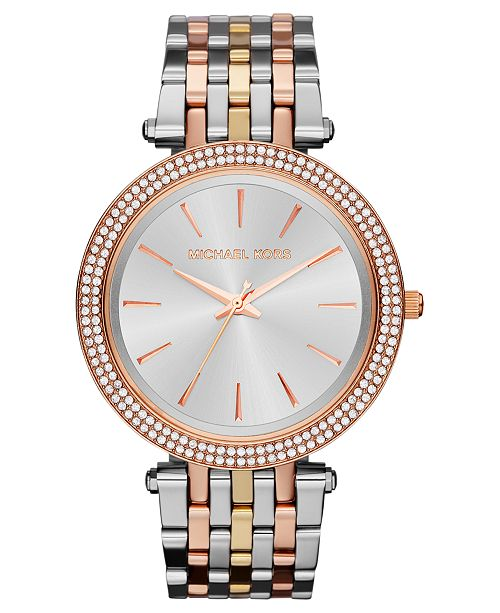 11256e9fb2eb ... Michael Kors Women s Darci Tri-Tone Stainless Steel Bracelet Watch 39mm  MK3203 ...