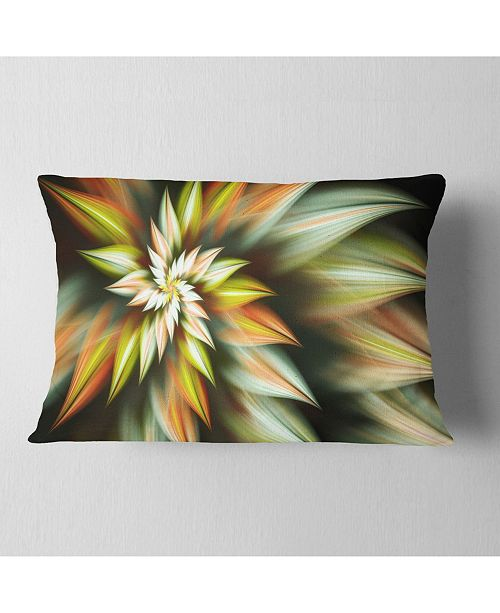 "Design Art Designart Exotic Brown Fractal Spiral Flower Abstract Throw Pillow - 12"" X 20"""