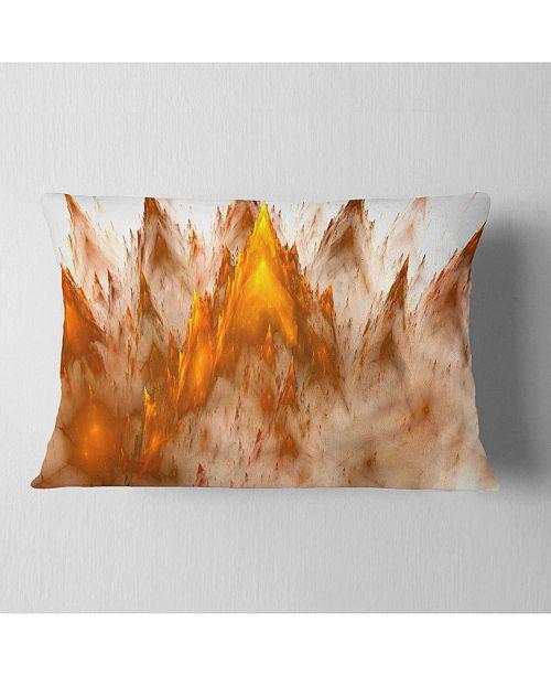 "Design Art Designart Brown Fractal Crystals Design Abstract Throw Pillow - 12"" X 20"""