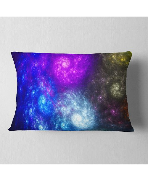 "Design Art Designart Colorful Fractal Rotating Galaxies Abstract Throw Pillow - 12"" X 20"""