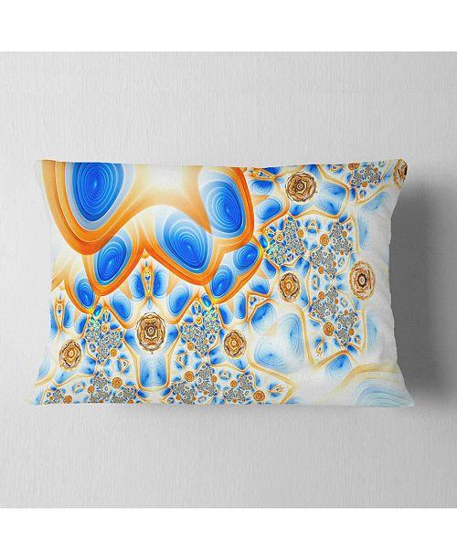 "Design Art Designart Yellow Blue Exotic Pattern Abstract Throw Pillow - 12"" X 20"""