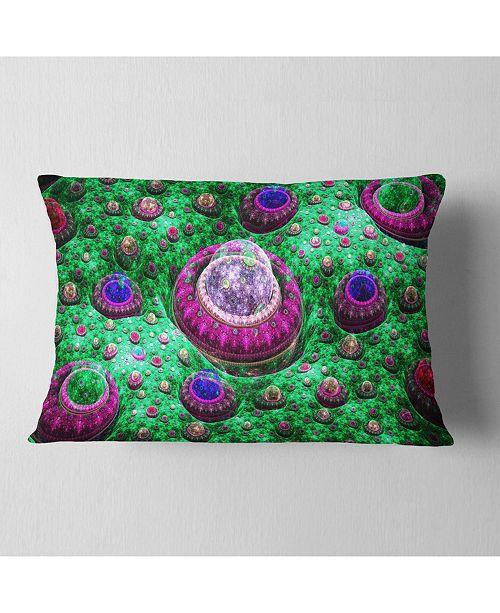 """Design Art Designart Green Fractal Exotic Planet Abstract Throw Pillow - 12"""" X 20"""""""