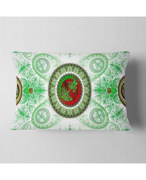 """Design Art Designart Light Green Psychedelic Relaxing Art Abstract Throw Pillow - 12"""" X 20"""""""