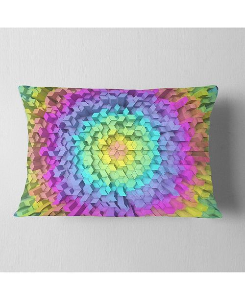 """Design Art Designart View Of Colorful Geometric Shapes Abstract Throw Pillow - 12"""" X 20"""""""