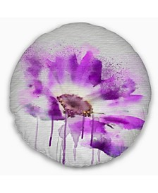 "Designart Beautiful Purple Rose Watercolor Floral Throw Pillow - 16"" Round"