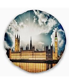 "Designart Big Ben Uk And House Of Parliament Throw Pillow - 16"" Round"