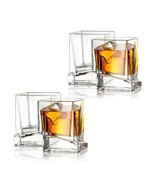 JoyJolt Carre Square Whiskey Glasses, Set of 4