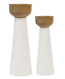 Stratton Home Decor Pillar Candlestick Set of 2