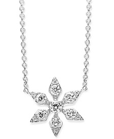 """Crystal Snowflake Pendant Necklace, 16"""" + 1"""" extender, Created For Macy's"""