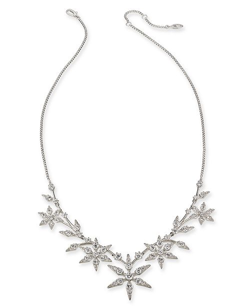 """Eliot Danori Silver-Tone Crystal Snowflake Statement Necklace, 16"""" + 1"""" extender, Created For Macy's"""