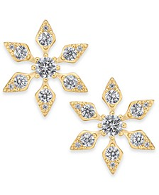 18k Gold-Plated Crystal Snowflake Stud Earrings, Created For Macy's