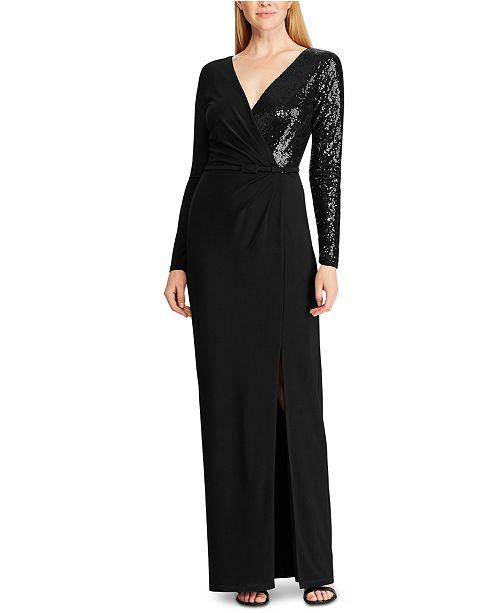 Lauren Ralph Lauren Sequined Long-Sleeve Jersey Gown, Created For Macy's