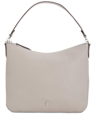 Kate Spade Medium Polly Leather Shoulder Bag In True Taupe/Sliver
