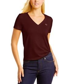 Lacoste Short Sleeve Classic Jersey V-Neck Tee Shirt