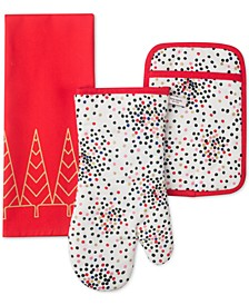 3-Pc. Spruce Way Kitchen Towel, Oven Mitt & Pot Holder Set