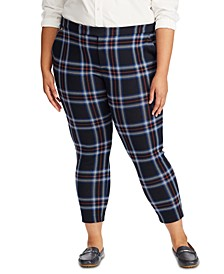 Plus Size Plaid-Print Jacquard Pants