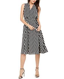 Anne Klein Bias-Stripe Drawstring Dress