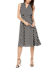 Anne Klein Bias-Stripe Drawstring Dress