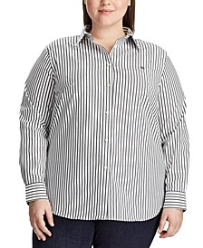 Plus Size Stripe-Print No-Iron Shirt