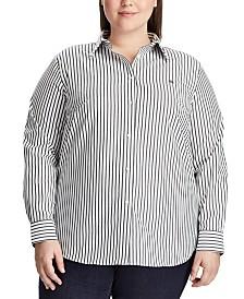 Lauren Ralph Lauren Plus Size Stripe-Print No-Iron Shirt