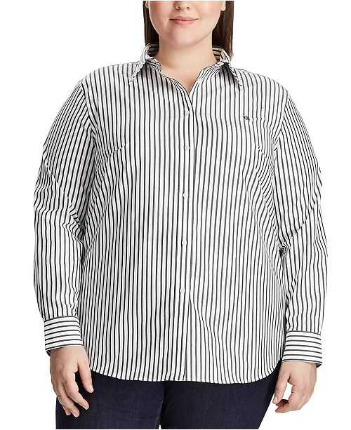 Lauren Ralph Lauren Plus Size Stripe-Print No-Iron Shirt
