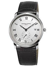 Men's Swiss Slimline Quartz Black Leather Strap Watch 39mm