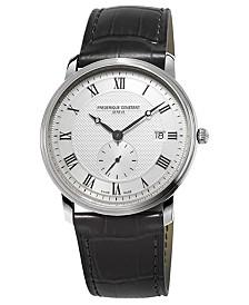 Frederique Constant Men's Swiss Slimline Quartz Black Leather Strap Watch 39mm
