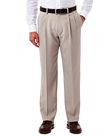 Men's Texture Weave Classic Fit Pleated Hidden Expandable Waistband Dress Pants