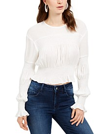 Smocked Long-Sleeve Top