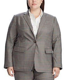Plus Size Glen Plaid-Print Blazer