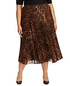 Plus Size Animal-Print Pleated Georgette Skirt