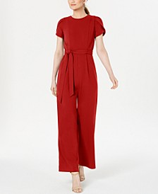 Belted Puff-Sleeve Jumpsuit