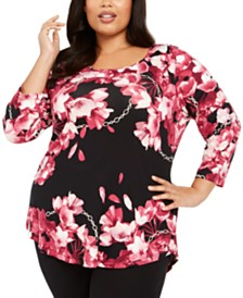 JM Collection Plus Size Floral Print Top, Created For Macy's