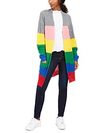Juniors' Rainbow Stripe Shaker-Stitch Cardigan