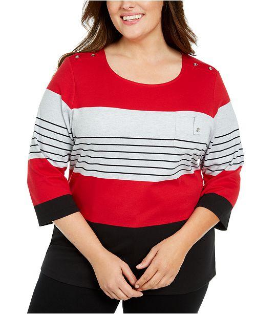 Karen Scott Plus Size Scoop-Neck Colorblocked Top, Created For Macy's