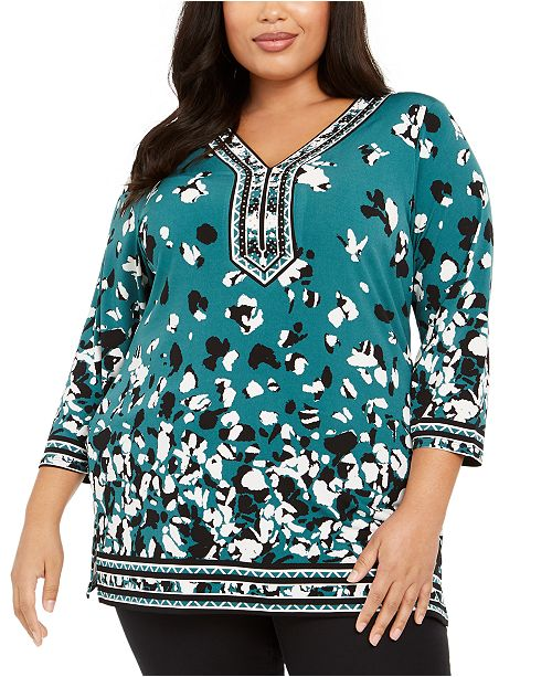 JM Collection Plus Size Printed Fashion Tunic Top, Created For Macy's