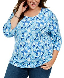 Plus Size Washed Petals Printed Top, Created For Macy's