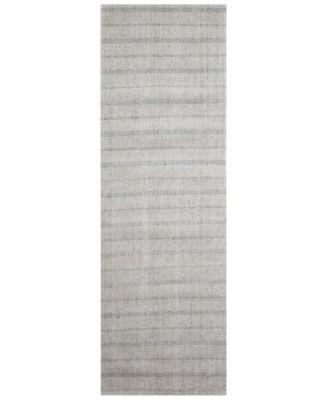 "Miles Stripe LRL6400C Silver 2'6"" X 8' Runner Area Rug"