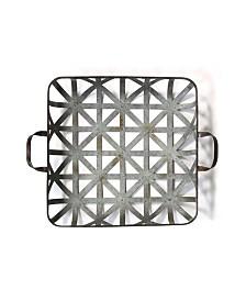Stratton Home Decor Basket Weave Metal Tray Wall Decor