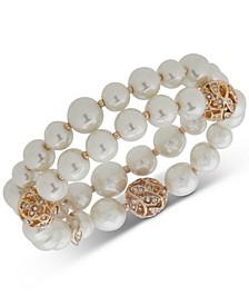 Gold-Tone Pavé Filigree Ball & Imitation Pearl Double-Row Stretch Bracelet