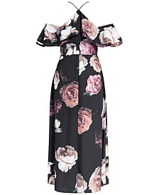 City Chic Trendy Plus Size Floral-Print Off-The-Shoulder Maxi Dress