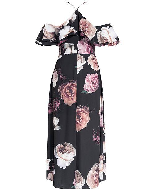 Trendy Plus Size Floral-Print Off-The-Shoulder Maxi Dress