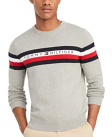 Tommy Hilfiger Men's Casper Regular-Fit Stripe Embroidered Logo Sweater
