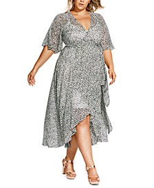 Trendy Plus Size Snow Leopard Printed Maxi Dress