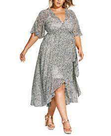 City Chic Trendy Plus Size Snow Leopard Printed Maxi Dress