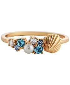 Swarovski Crystal & Imitation Pearl Shell Statement Ring