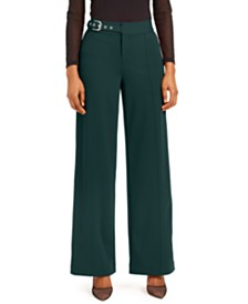 I.N.C. Side-Belt Wide-Leg Pants, Created for Macy's
