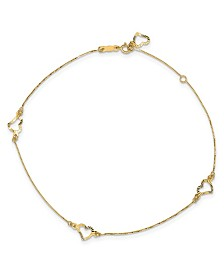 "Heart Anklet with Adjustable 1"" Extension in 14k Yellow Gold"