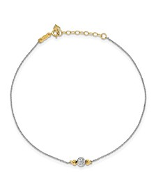 Bead Ropa Chain Anklet in 14k White and Yellow Gold